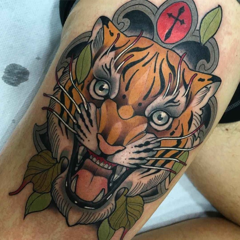New school style colored thigh tattoo of crazy tiger portrait
