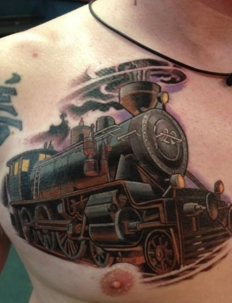 New school style colored train tattoo on chest