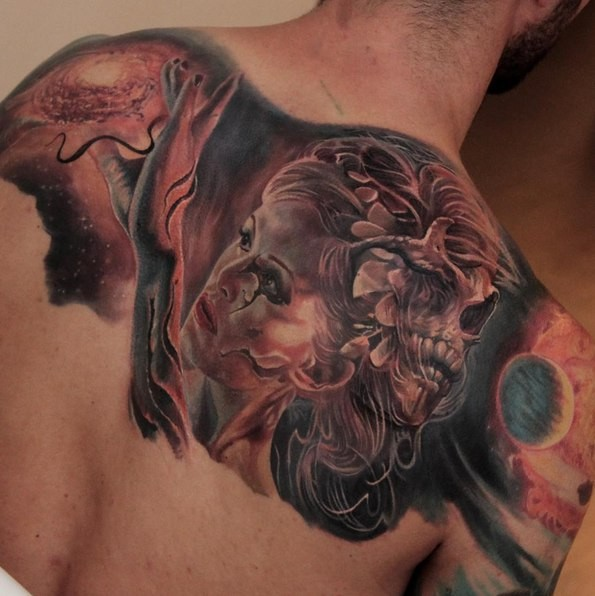 New school style colored upper back tattoo of mystical woman with planets and skull