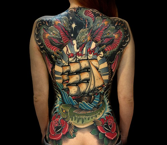 New school style colored whole back tattoo of large sailing ship with evil snakes, fish and roses