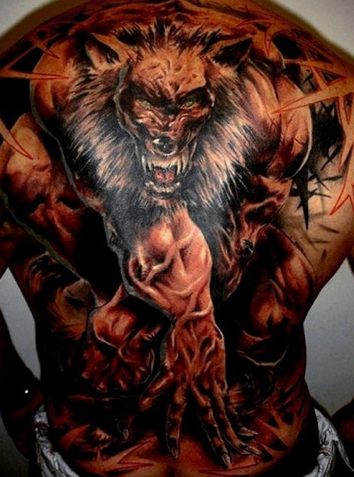 New school style colored whole back tattoo of evil powerful werewolf