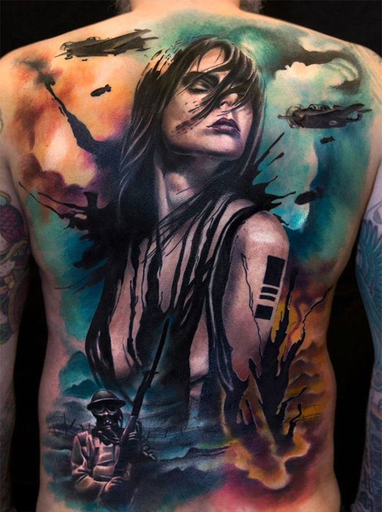 New school style colored whole back tattoo of sexy woman with soldiers