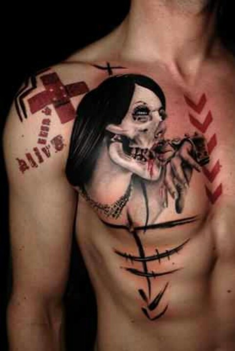 New school style colored zombie woman face with cross and lettering tattoo on chest and shoulder