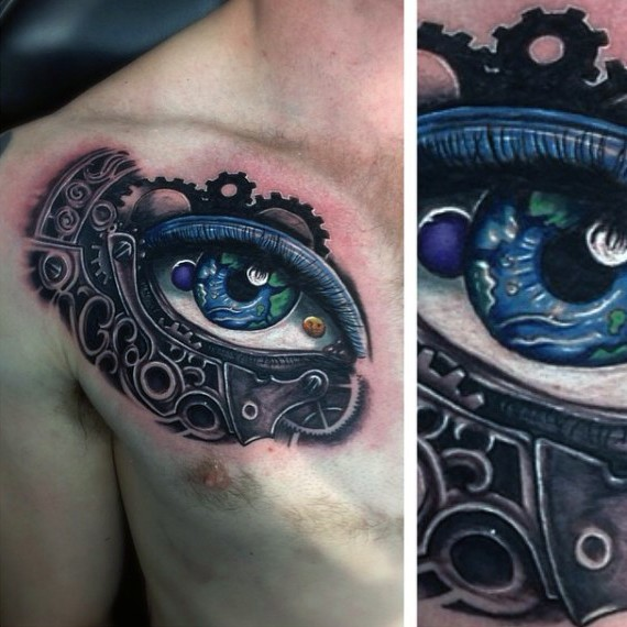 New school style colorful human eye tattoo on chest stylized with mechanical parts