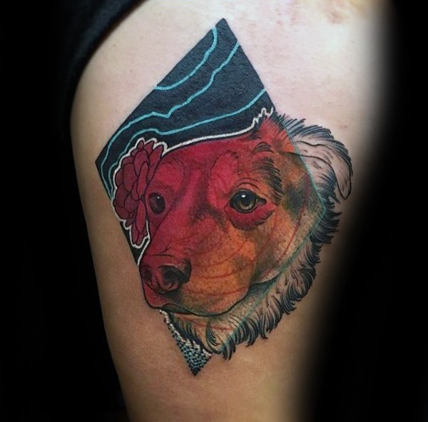 New school style cool looking dog portrait tattoo on thigh