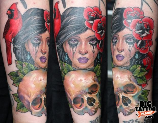 New school style forearm tattoo of woman portrait with human skull