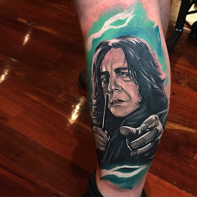 New school style illustrative Harry Potter Snape portrait