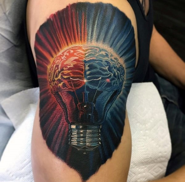 New school style illustrative shoulder tattoo of bulb with human brains