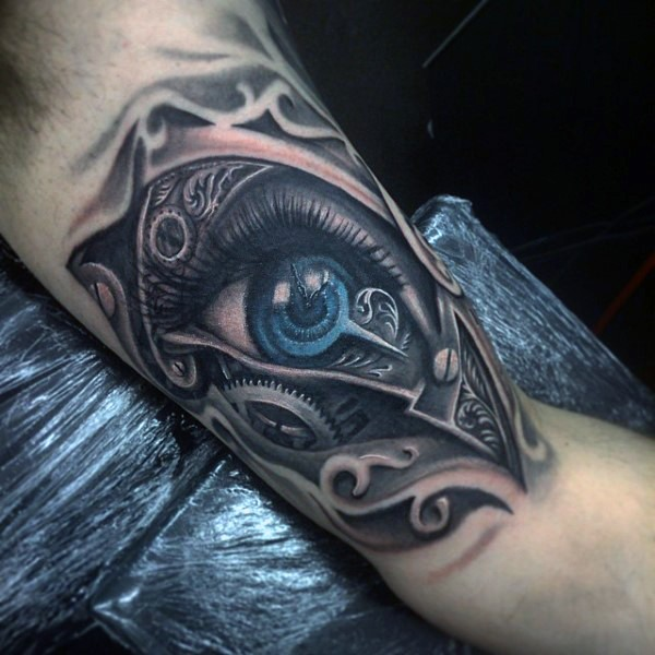 New school style interesting combined colored human eye tattoo on biceps with various mechanical parts