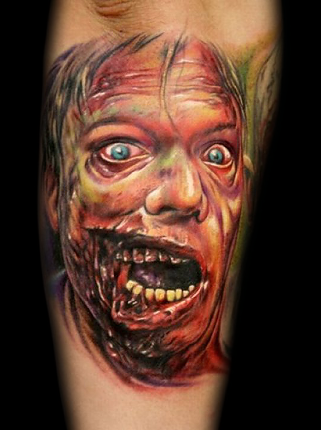 New school style modern horror movie like forearm tattoo of colored zombie man