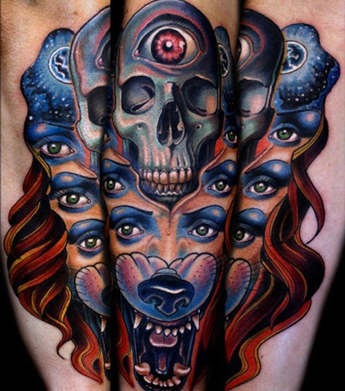 New school style mystical half human half animal tattoo with skull