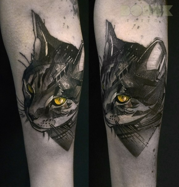 New school style style colored arm tattoo fo creepy cat