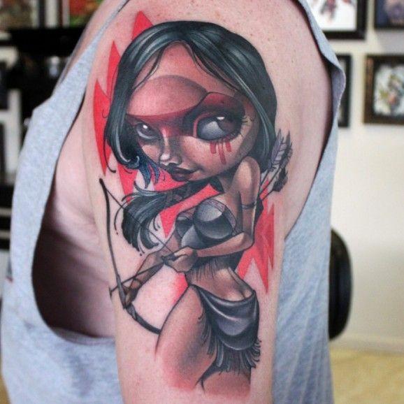 nuova scuola colorato nativo americano ragazza tatuaggio da Kelly Doty
