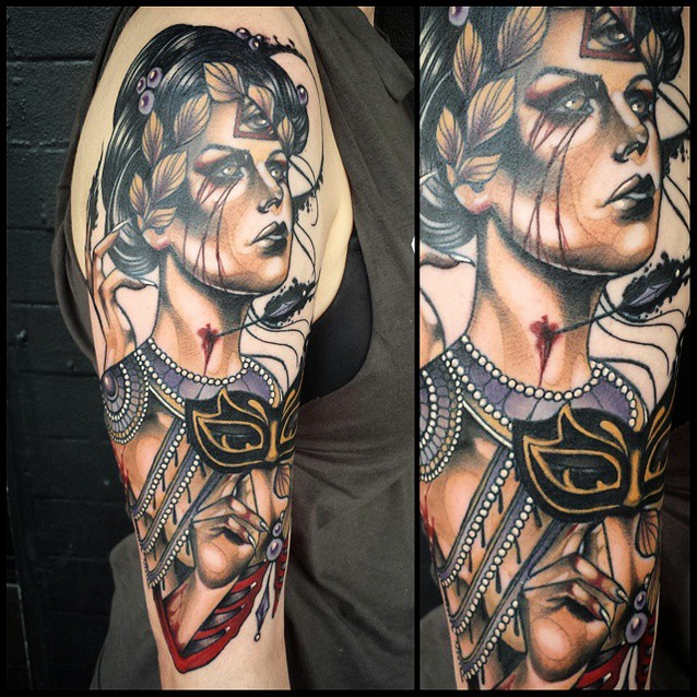 New shool style colored shoulder tattoo of woman with mask