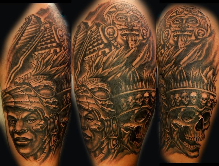 New style cool idea of aztec culture tattoo on shoulder