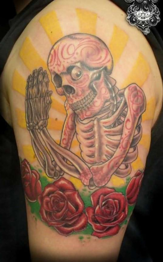 New style dia de los muertos skeleton tattoo on shoulder