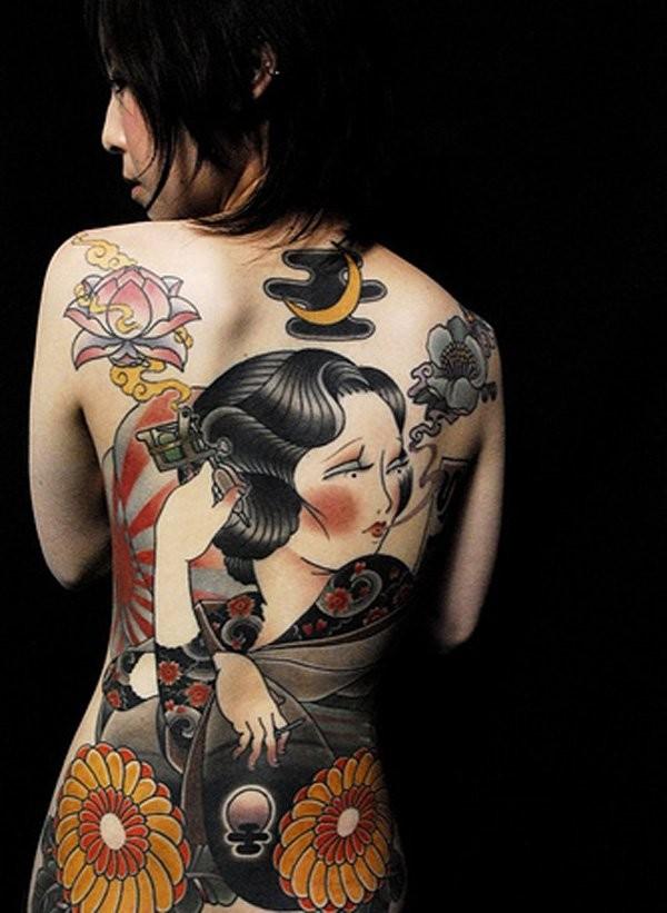 nuovo stile geisha tatuaggio pieno di schiena
