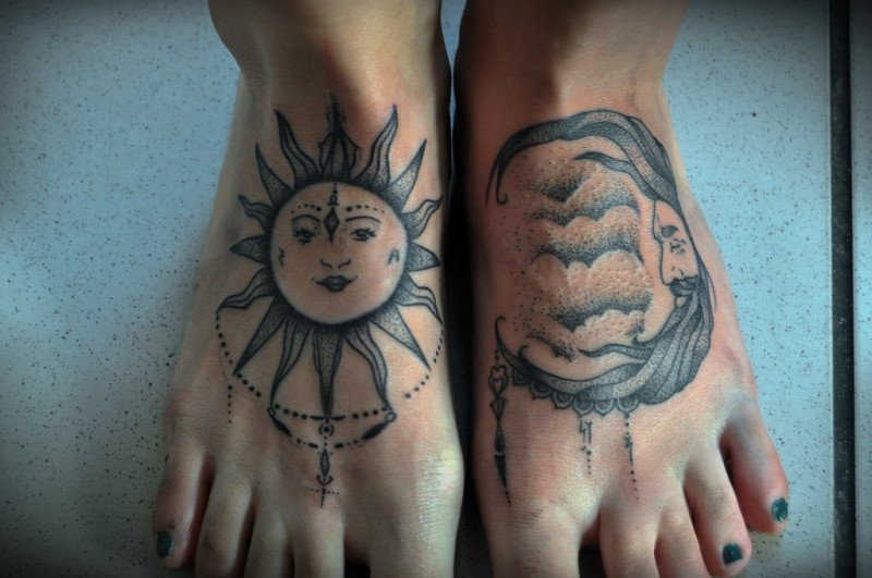 New style sun and moon tattoo by kubach