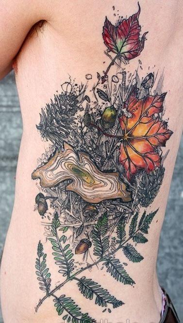 New style tree tattoo on ribs