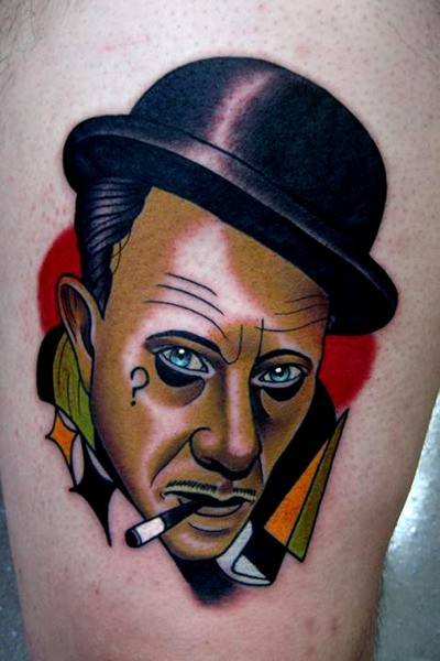 News school style colored tattoo of smoking man portrait