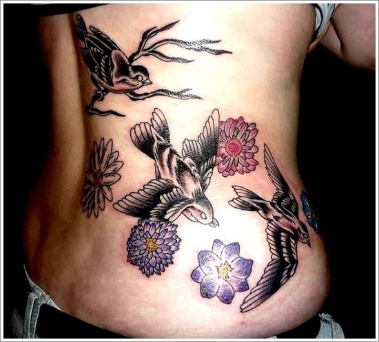 Nice bird tattoo ideas for girl on back