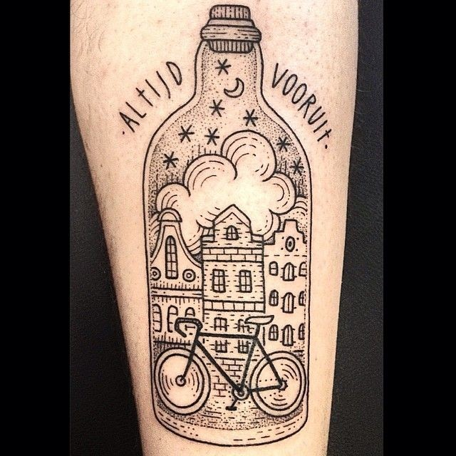 Nice black ink big old bottle tattoo on forearm stylized with night city and bicycle