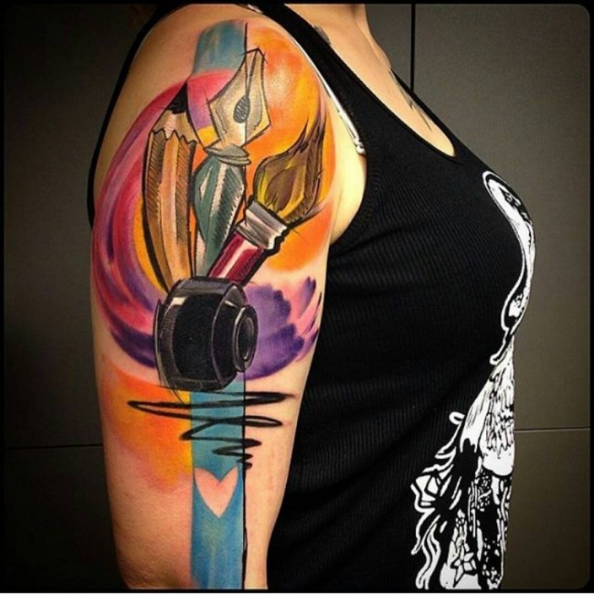 Nice colored illustrative style shoulder tattoo of pencil with pen and brush
