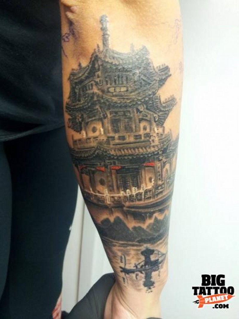 Nice colored natural looking forearm tattoo of ancient Asian temple