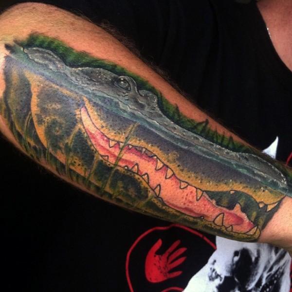bel colorato realistico alligatore tatuaggio su braccio
