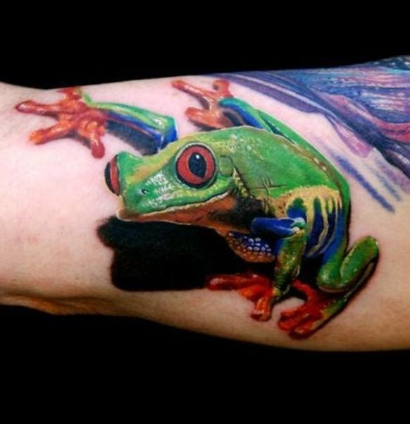 Nice colorful frog tattoo on arm