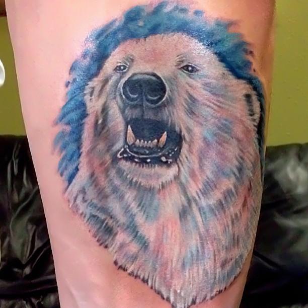 Nice colorful polar bear tattoo