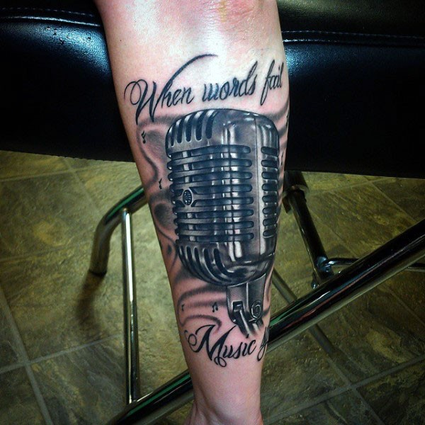 nice designed and detailed colored vintage microphone with lettering tattoo on arm. Black Bedroom Furniture Sets. Home Design Ideas