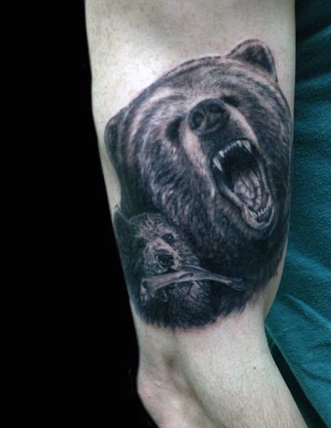 Nice designed and detailed wild beards family tattoo on arm