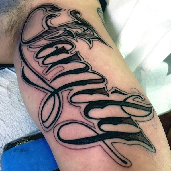 Nice designed black and white lettering tattoo on arm