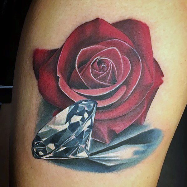 nice detailed red colored rose with pure diamond tattoo on leg. Black Bedroom Furniture Sets. Home Design Ideas