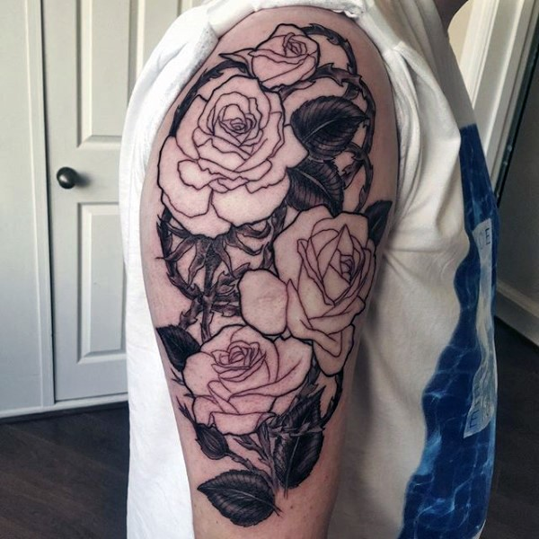Nice detailed roses and thorns tattoo on half sleeve zone