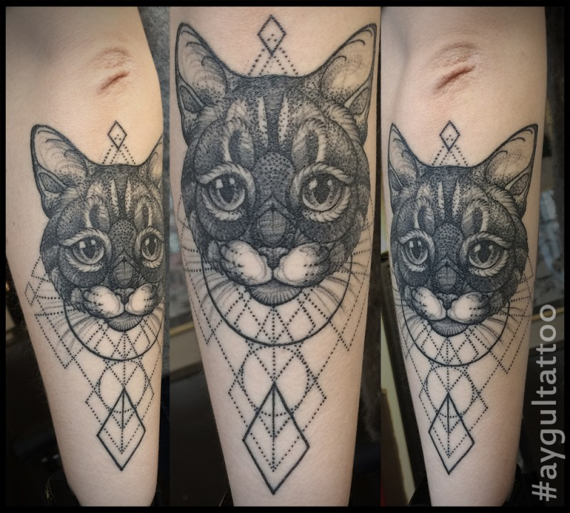 Nice dot style arm tattoo of cute cat with geometrical ornaments