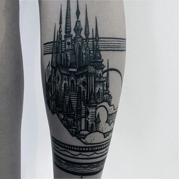 Nice fantasy like big black ink old castle tattoo on arm