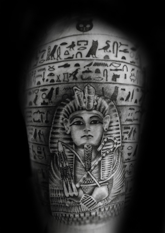 Nice illustrative style detailed shoulder tattoo of Egypt painting
