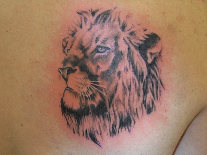 Nice lion face tattoo design
