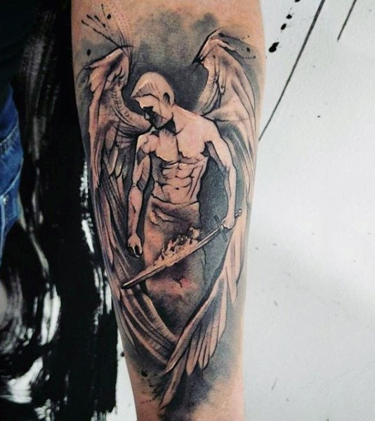 Nice looking abstract black and white angel tattoo on forearm with burning sword