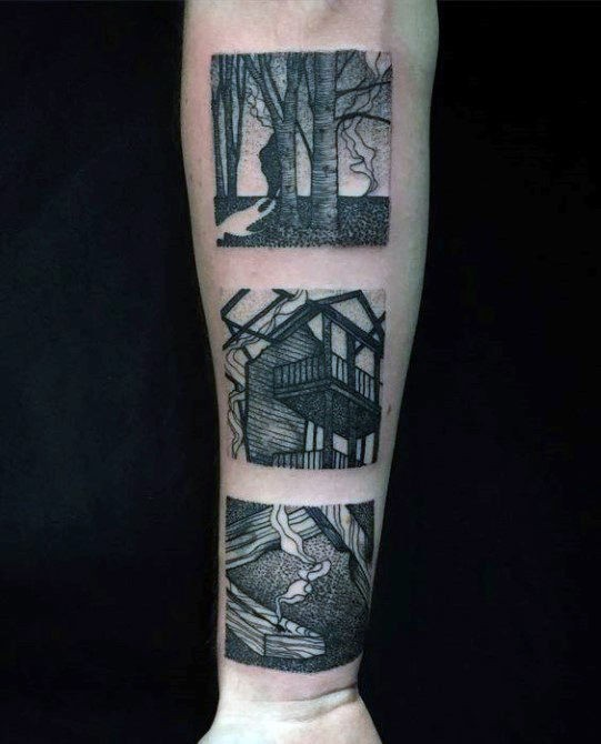 Nice looking black ink forearm tattoo of vintage pictures