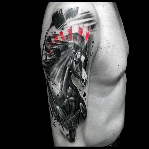 Nice looking colored shoulder tattoo of running horse