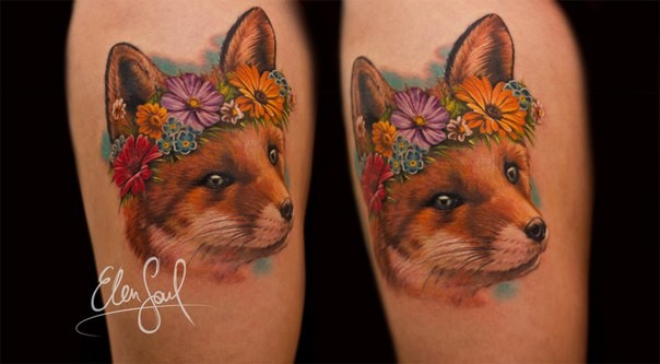 Nice looking colored shoulder tattoo of fox head with flowers