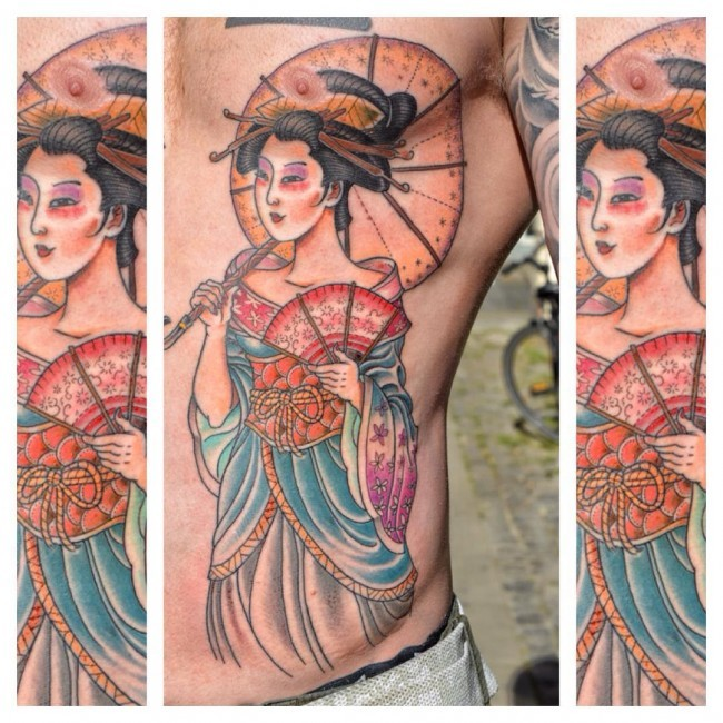 Nice looking colored side tattoo of Asian woman with umbrella