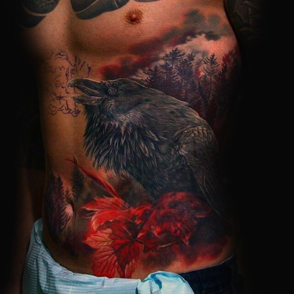 Nice looking colored side tattoo of big crow with dark forest