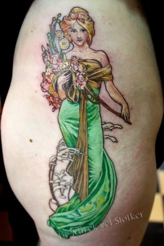 Nice looking illustrative style thigh tattoo of beautiful woman with flowers