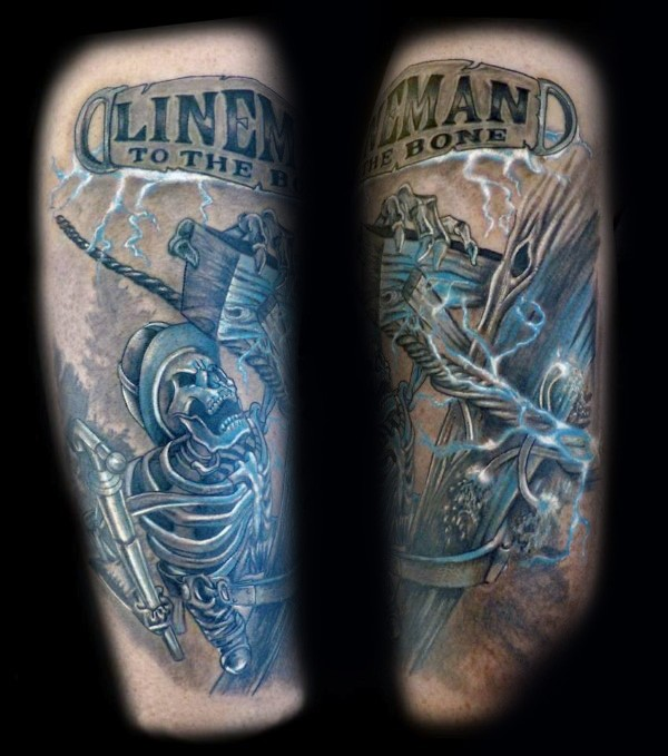 Nice modern style colored arm tattoo of lineman with lettering