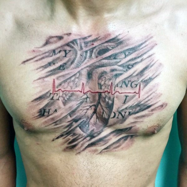 Nice painted and colored big heart rhythm with lettering tattoo on chest
