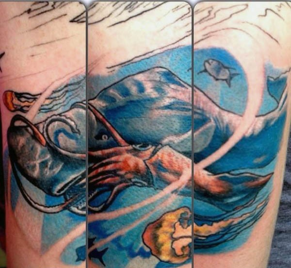Nice painted and colored big squid with jelly-fish tattoo